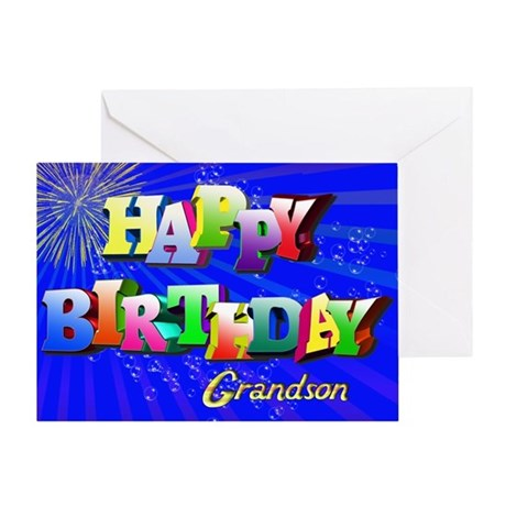 Grandson, Bright letters and bubbles birthday card