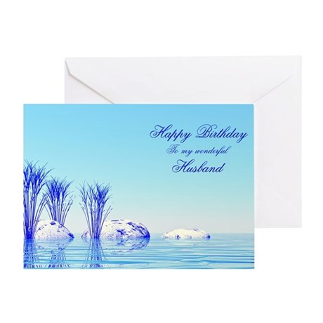 Husband, a peaceful water birthday card Greeting C