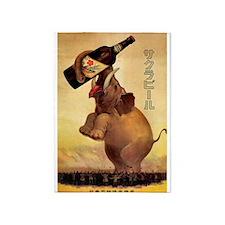 Elephant,Japan,Beer, Vintage Poster 5'x7'Area Rug