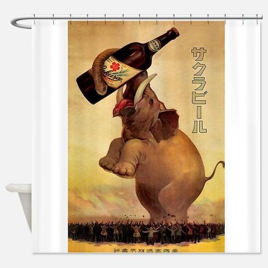 Elephant,Japan,Beer, Vintage Poster Shower Curtain