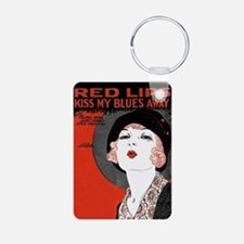 Vintage Red Lips Kiss Aluminum Photo Keychain