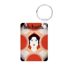 Vintage Hello Beautiful Aluminum Photo Keychain
