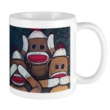 See No Evil Sock Monkeys Mugs