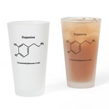 Dopamine Molecule and IUPAC Name Drinking Glass