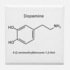 Dopamine Molecule and IUPAC Name Tile Coaster