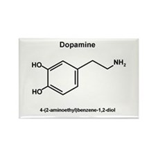 Dopamine Molecule and IUPAC Name Rectangle Magnet