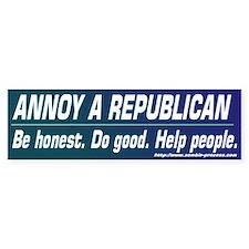 Annoy a Republican. Help People Bumper Car Sticker