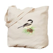 Chickadee Bird on Pine Branch Tote Bag