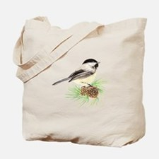 Chickadee Bird on Pine Branch Tote Bag