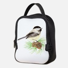 Chickadee Bird on Pine Branch Neoprene Lunch Bag