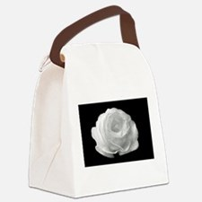 White Rose On Black Background Canvas Lunch Bag