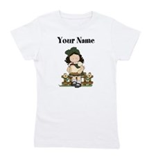 Personalized Girl with Chicken Girl's Tee