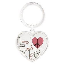 Love and Peace heart Heart Keychain