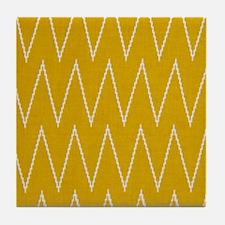 Golden Yellow Chevron Zigzags Tile Coaster