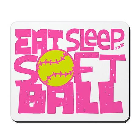 EAT, SLEEP, SOFTBALL Pink Mousepad