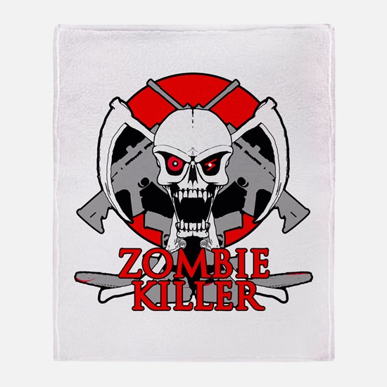 Zombie killer red Throw Blanket