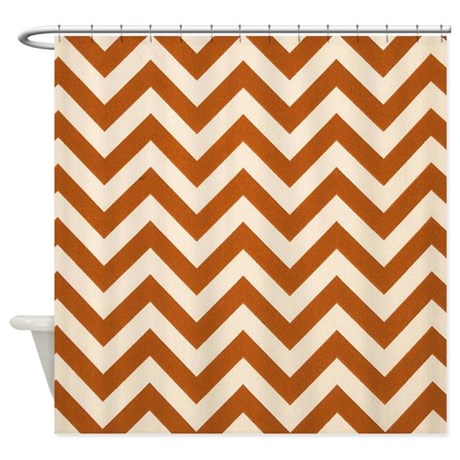rust chevron zigzags shower curtain by chevroncitystripes
