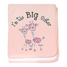 Big Sister Giraffes baby blanket