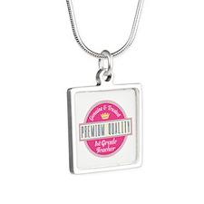 Genuine 1st Grade Teacher Silver Square Necklace