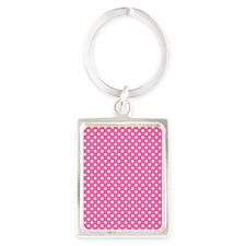 white polka dots on dark pink Portrait Keychain