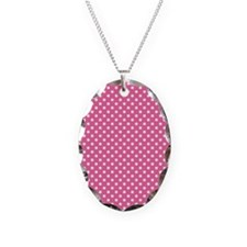 white polka dots on dark pink Necklace