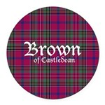 Tartan - Brown of Castledean Round Car Magnet