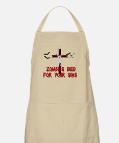 Zombies Died For Your Sins Apron