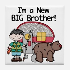 Camping Big Brother (black hair) Tile Coaster
