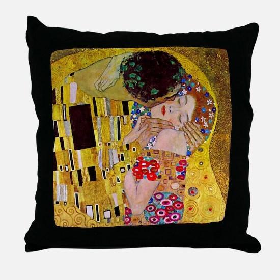 The Kiss detail, Gustav Klimt, Vintag Throw Pillow