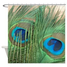 Golden Peacock Feathers Shower Curtain