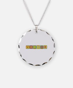 Victor Foam Squares Necklace Circle Charm