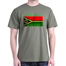 Vanuatu Vanuatuan Flag Military Green T-Shirt