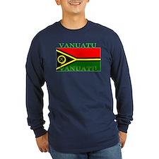 Vanuatu Vanuatuan Flag Long Sleeve Blue T-Shirt
