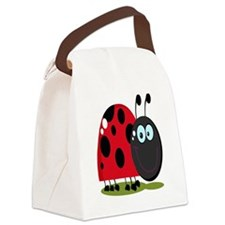 cute silly happy smiling ladybug Canvas Lunch Bag