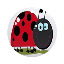 cute silly happy smiling ladybug Round Ornament