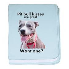 Pit Bull Kisses baby blanket