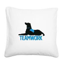 teamwork_blue.png Square Canvas Pillow