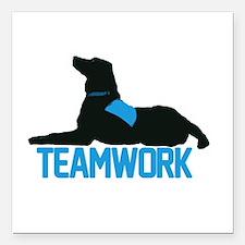"teamwork_blue.png Square Car Magnet 3"" x 3"""