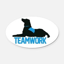 teamwork_blue.png Oval Car Magnet