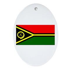 Vanuatu Blank Flag Oval Ornament