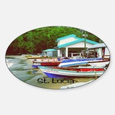 St. Lucia, waterfront  Sticker (Oval)
