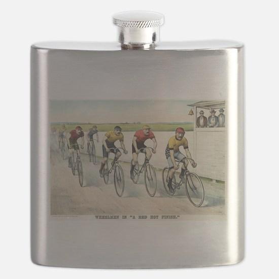 Wheelmen in a red hot finish - 1894 Flask