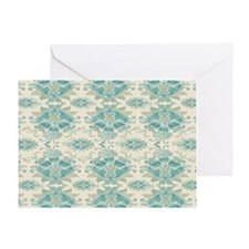ecru and teal fancy damask pattern Greeting Card