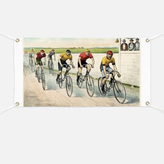 Wheelmen in a red hot finish - 1894 Banner