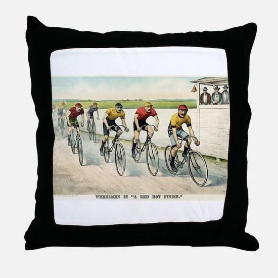 Wheelmen in a red hot finish - 1894 Throw Pillow