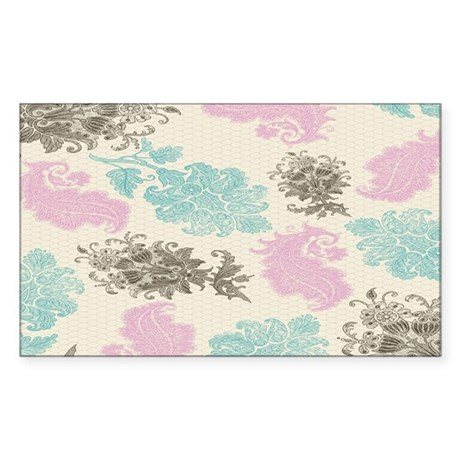 lovely pastel floral damask pa Sticker (Rectangle)