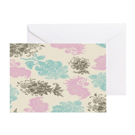lovely pastel floral damask pattern Greeting Card