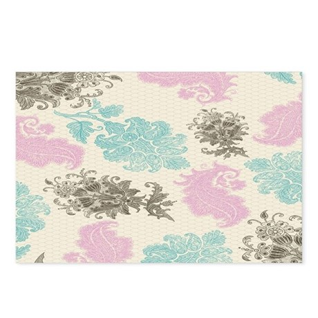 lovely pastel floral dama Postcards (Package of 8)
