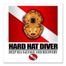 "Hard Hat Diver Square Car Magnet 3"" x 3"""
