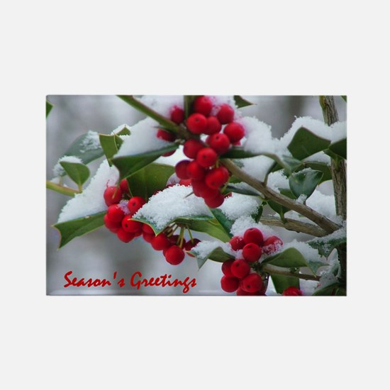 Christmas Berries Rectangle Magnet